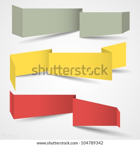 Vector set of origami banners for web design - stock vector
