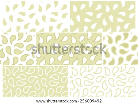 Vector set of seamless patterns with abstract drops in white and pistachio. Eps 10 - stock vector