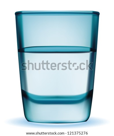 Vector short glass with water - stock vector