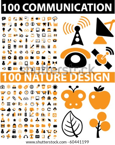 200 vector signs - communication & nature design signs. vector - stock vector