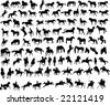 100 vector silhouettes of horses and riders - stock vector