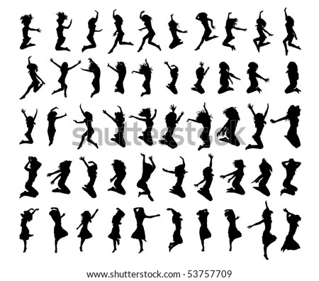 50 vector silhouettes woman - stock vector
