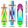 Vector skateboard abstract colorful designs - stock vector