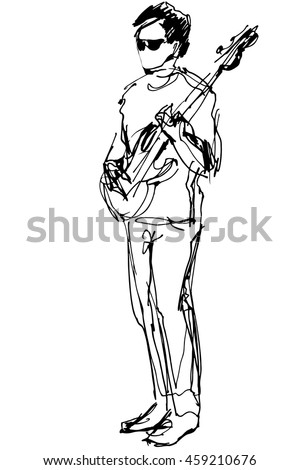 vector sketch of a guy with glasses with an electric guitar