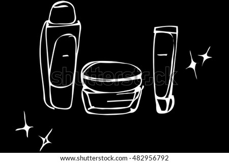 vector sketch of cosmetic creams in tubes and bank