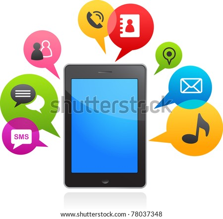 vector smart phone with speech bubbles - stock vector