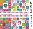 8 vector stitch owls seamless patterns - stock vector