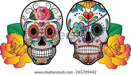 Vector Sugar Skulls and Roses - stock vector