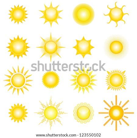 16 vector suns - stock vector