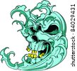 Vector Tattoo Monster Wave - stock vector