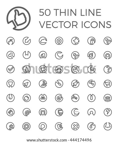 50 Vector Thin Line Icons for business, multimedia, communication, ecology, education, medicine, shopping. Simple linear symbols set. - stock vector