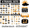 4 vector travel & vacation sets. - stock vector