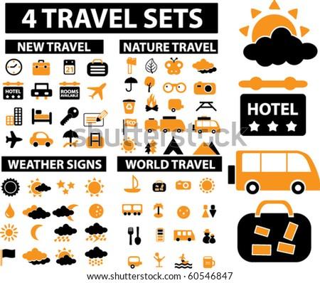 4 vector travel & vacation sets. - stock vector