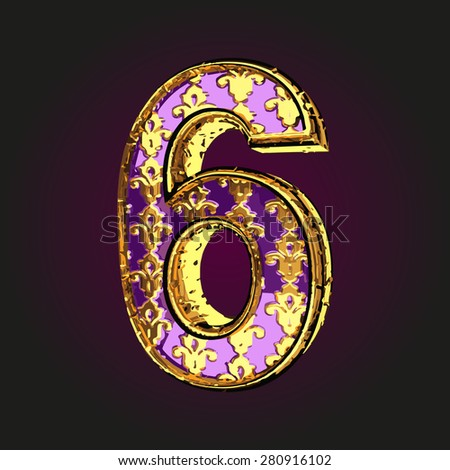 6 vector violet letter with gold