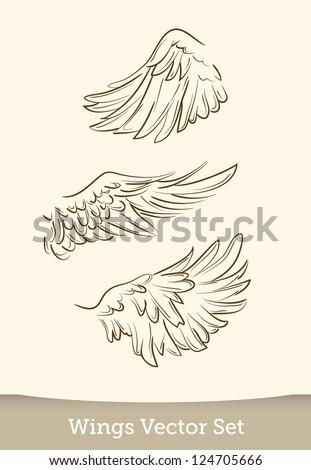 vector wings set - stock vector