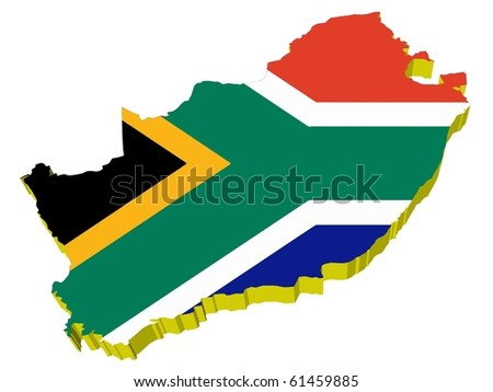 vectors 3D map of South Africa - stock vector
