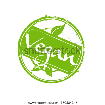 """Vegan"" green round rubber stamp vector - stock vector"