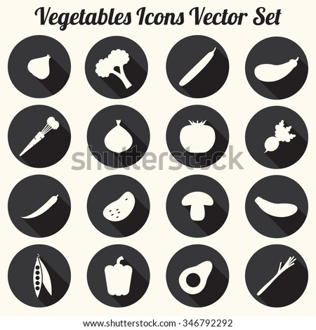 Vegetables Icons Vector Set, Black and White Silhouettes - flat design eps 10 - stock vector