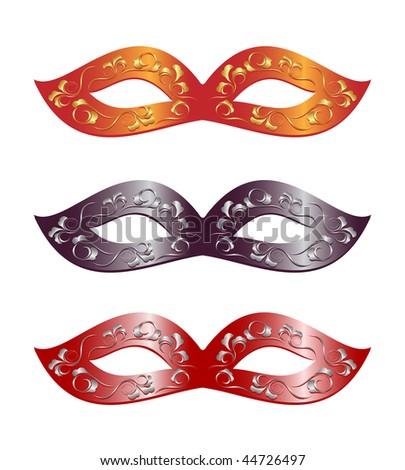 3 versions of carnival masks. Vector-Illustration - stock vector
