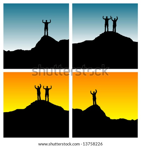 4 versions of silhouette of man and woman standing on a mountain top