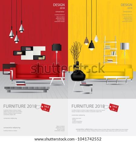 2 Vertical Banner Furniture Sale Design Template Vector Illustration