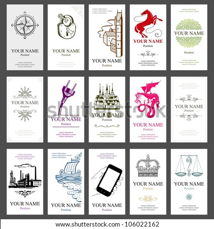 15 vertical business cards - stock vector