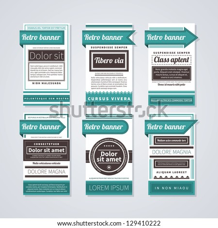 6 vertical retro banners on white background. Useful for advertising or web design. - stock vector