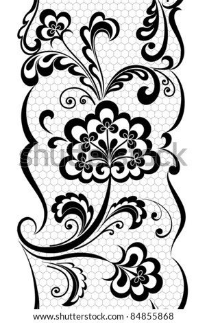 Vertical seamless lace pattern - stock vector
