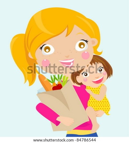 Very busy young woman with her little daughter