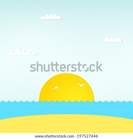 view of beautiful sunset above the sea - stock vector