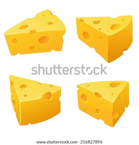 4 views yummy cheese  - stock vector