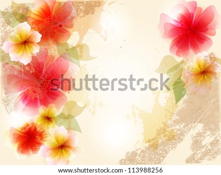 vintage abstract flower with colorful blots. - stock vector