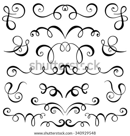 Vintage Decorative Curls Swirls Set Hand Stock Vector ...