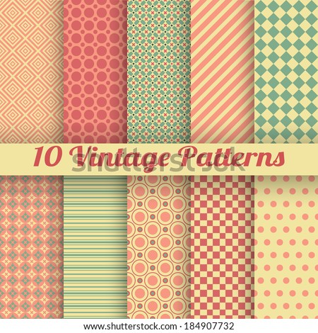10 Vintage different vector seamless patterns (tiling). Endless texture for wallpaper, fill, web page background, surface texture. Set of bright geometric ornament. Red, green and beige shabby colors.