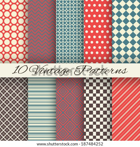 10 Vintage different vector seamless patterns (tiling). Endless texture for wallpaper, fill, web page background, surface texture. Set of abstract geometric ornament. Red and blue shabby colors. - stock vector