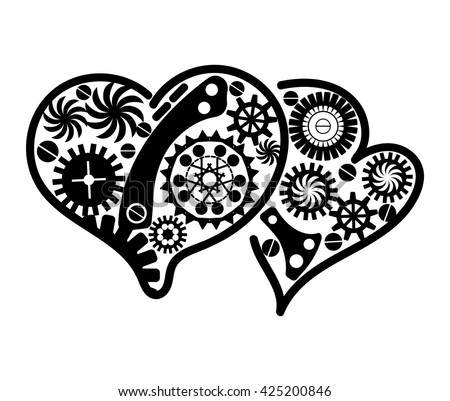 Vintage heart icon. Mechanism made of cogs and gears. Vector Illustration of art element for card, site. Steampunk style. Tattoo design. - stock vector