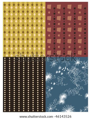 4 Vintage patterns - stock vector