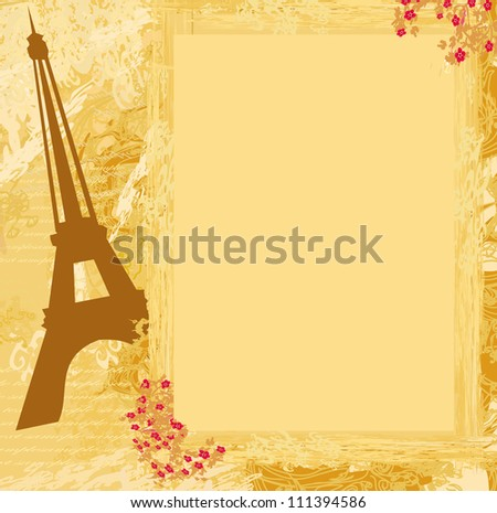 vintage retro Eiffel card - stock vector
