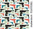 vintage revolver, seamless pattern - stock vector