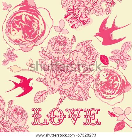 vintage rose background - stock vector