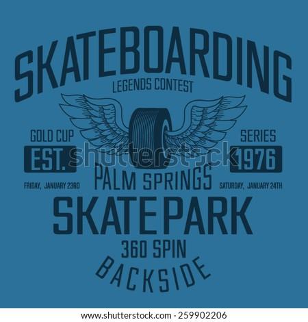 Vintage skate board typography, t-shirt graphics, vectors - stock vector