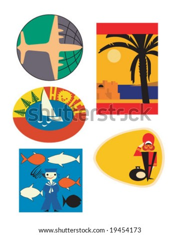 5 Vintage Travel Tags - stock vector