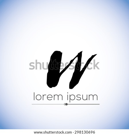 W letter calligraphic hand drawn logo (sign, symbol, icon) - stock vector