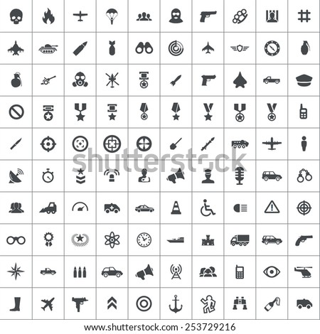 100 war icons, black on square white background  - stock vector