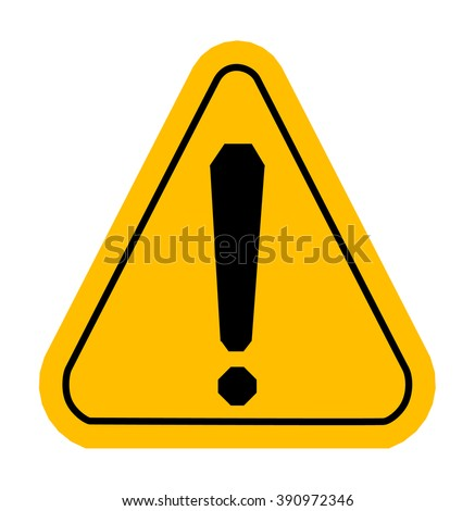 Warning icons in yellow triangle. Exclamation point. Vector illustration - stock vector