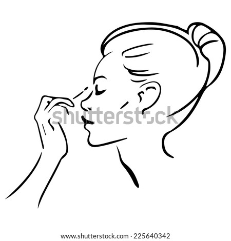 watercolor vector  girl with fashion makeup - stock vector