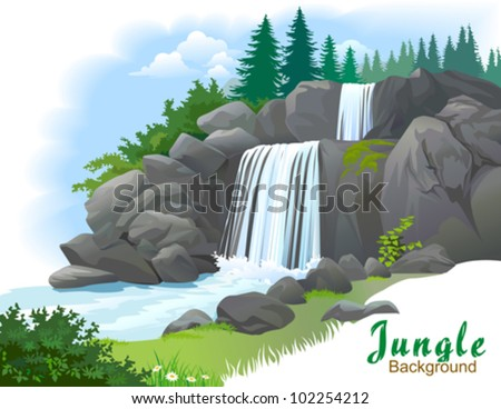 Waterfall in a jungle - stock vector