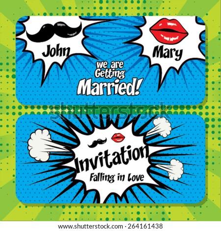 Pop Art Wedding Cartoon Card Template Vector Illustration