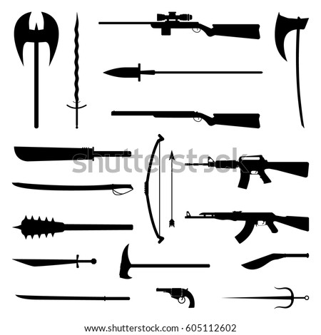 18 weapons icon. Medieval and modern. Flat vector Illustration.