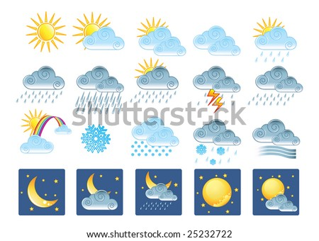 20 weather icons. Gradients only (no mesh) - stock vector